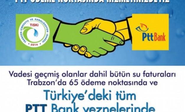 Su Faturaları Trtık PTT'de Ödenebiliyor